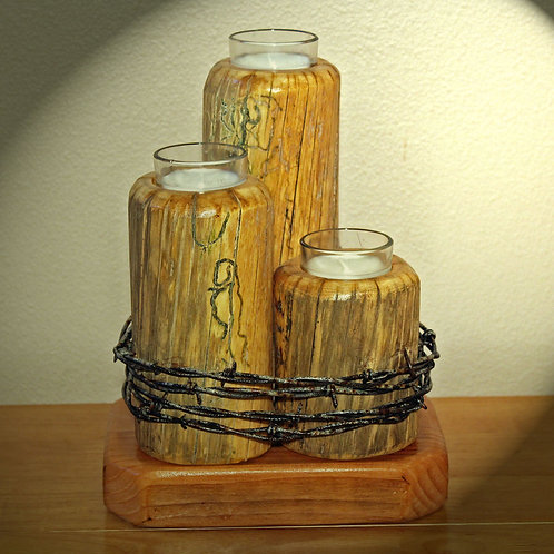 Three Tiered Candle Holder w/Barbed Wire.