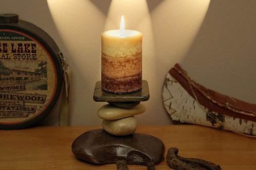 Tamarack Lodge Stone Candle Holder
