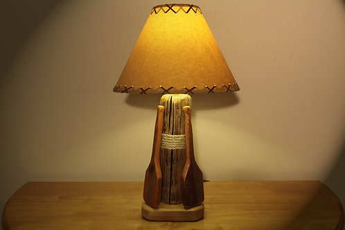 The Redfish Lake Table Lamp w/Hand Carved Oars