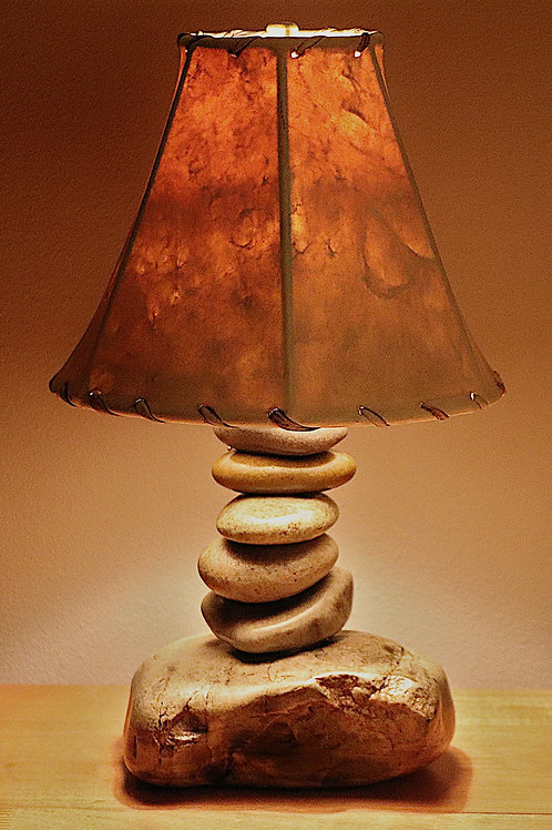 The Clearwater Medium Size Stone Lamp with Rawhide or Faux Leather Shade