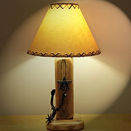 "The Old El Paso Table Lamp w/Spur and Texas Star and 14"" Parchment Shade"
