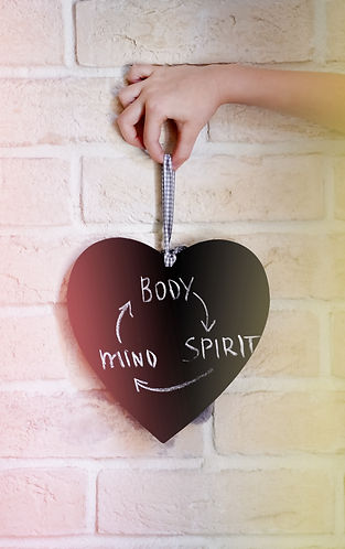 Text body, spirit, mind on black heart o