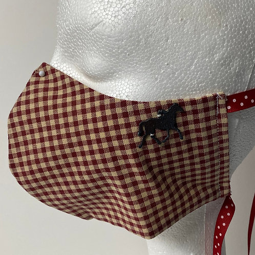 Dark Red and khaki gingham with horse accent
