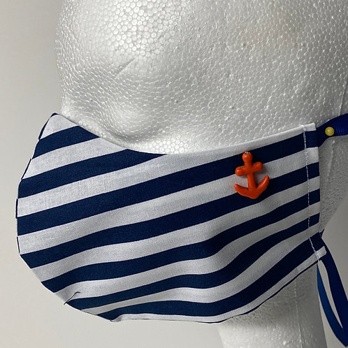 Navy and White stripe with red Anchor accent