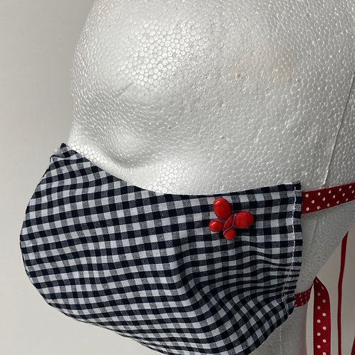 Black and White gingham with red butterfly