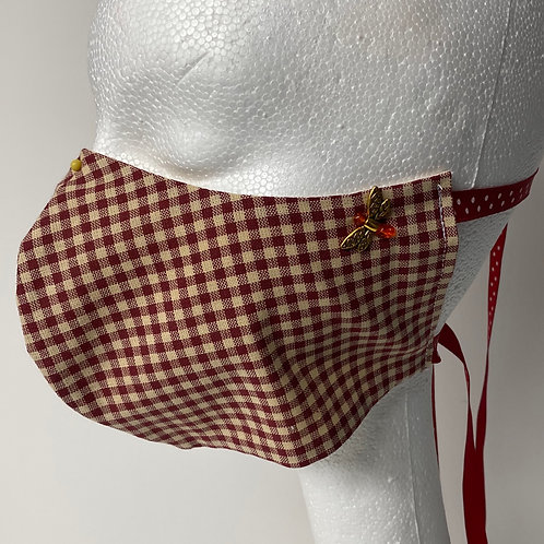 Dark red and khaki gingham with dragonfly