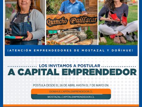 """PROGRAMA """"CAPITAL EMPRENDEDOR"""" DE AGROSUPER INVITA A POSTULAR A EMPRENDEDORES DE MOSTAZAL Y DOÑIHUE."""