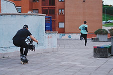 stunt camera crew rollerblades