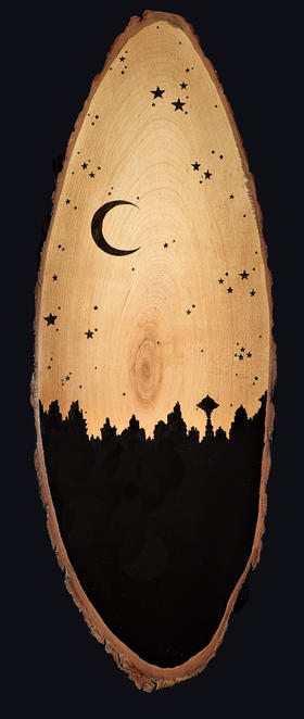 Cityscape with Moon & Stars