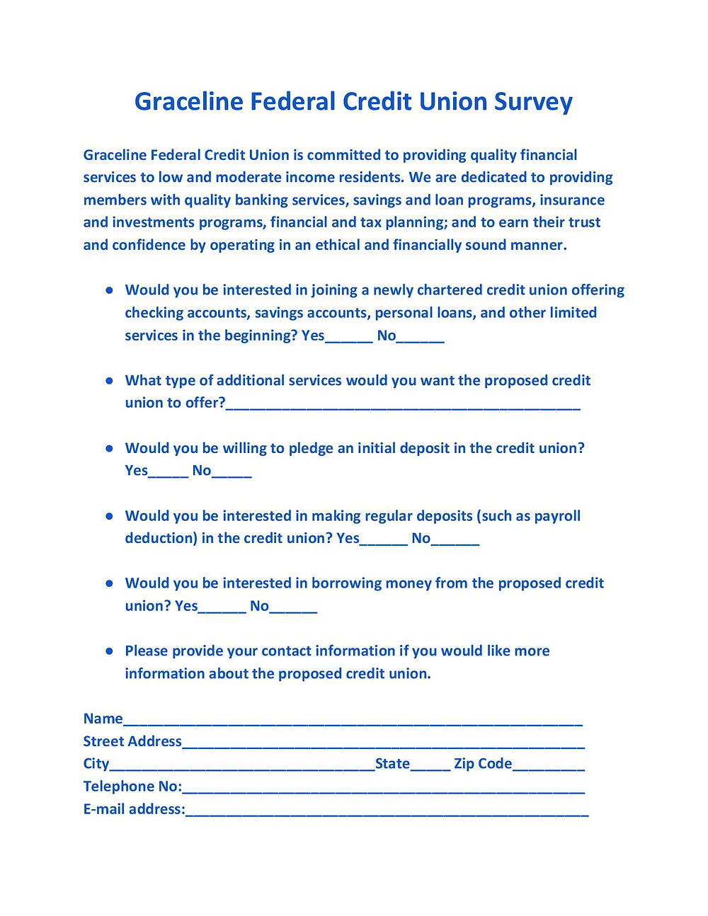 Please complete this brief survey and return by scanning and emailing pdf.