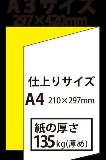 【A3サイズ】パンフレット2つ折り_135kg  100枚25,100円~●クリック後印刷枚数を選んで下さい。