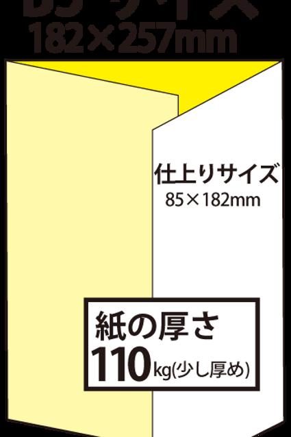 【B5サイズ】パンフレット3つ折り_110kg  100枚14,300円~●クリック後印刷枚数を選んで下さい。