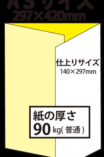 【A3サイズ】パンフレット3つ折り_90kg  100枚25,400円~●クリック後印刷枚数を選んで下さい。