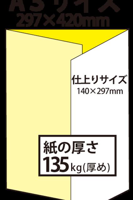 【A3サイズ】パンフレット3つ折り_135kg  100枚25,600円~●クリック後印刷枚数を選んで下さい。