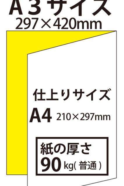 【A3サイズ】パンフレット2つ折り_90kg  100枚24,900円~●クリック後印刷枚数を選んで下さい。