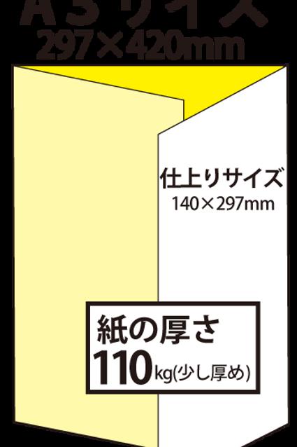 【A3サイズ】パンフレット3つ折り_110kg  100枚25,500円~●クリック後印刷枚数を選んで下さい。