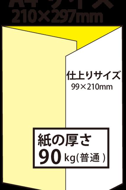 【A4サイズ】パンフレット3つ折り_90kg  100枚14,700円~●クリック後印刷枚数を選んで下さい。
