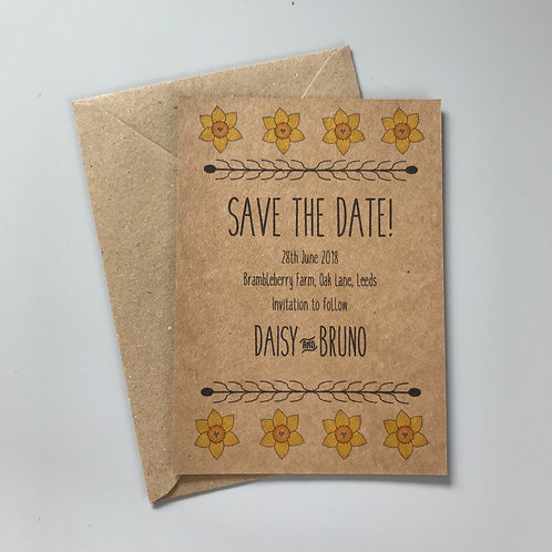 Daffodil Save the Date Cards, Kraft