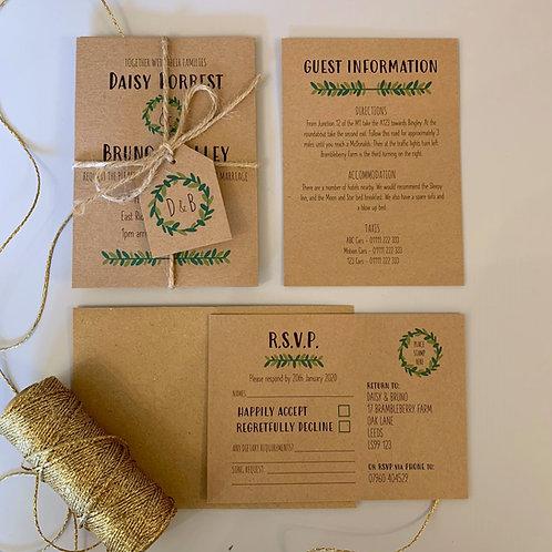 Foliage Wedding Invitations - Kraft