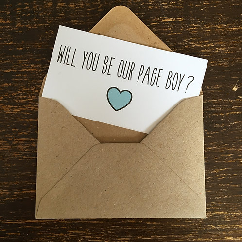 Page Boy Card, White, Blue heart