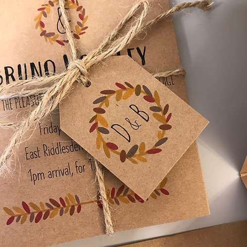 Autumn Wedding Favour Tags - Kraft