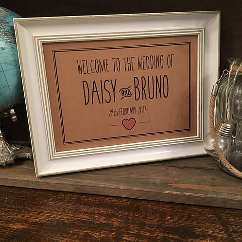 Personalised Wedding Welcome Sign, Choice of colour and size
