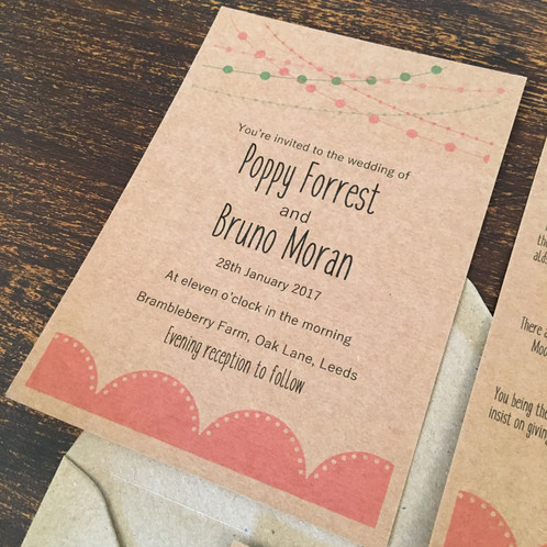Rustic Wedding Invitations With A Fairy Light And Lace Detail