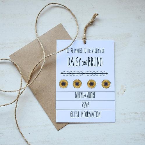 Sunflower Tiered Wedding Invites - White
