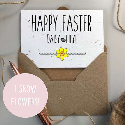 Personalised Happy Easter Daffodil Card - Seeded Card