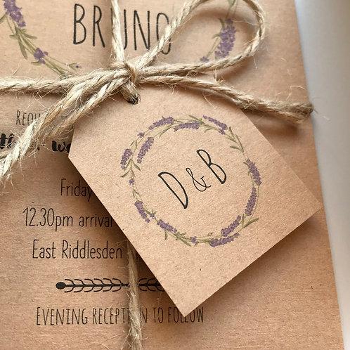 Lavender Wedding Favour Tags - Kraft