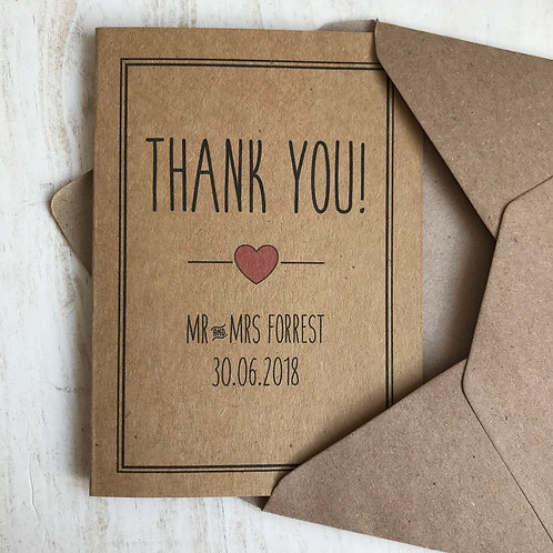 Personalised Border Wedding Thank You Cards