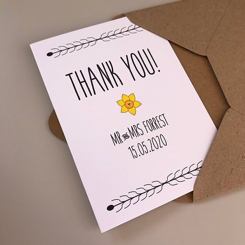 Daffodil Personalised Wedding Thank You Cards - White