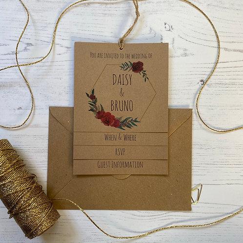 Winter Romance Tiered Wedding Invites - Kraft