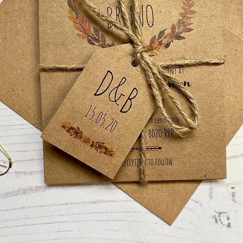 Autumn Boho Wedding Favour Tags - Kraft