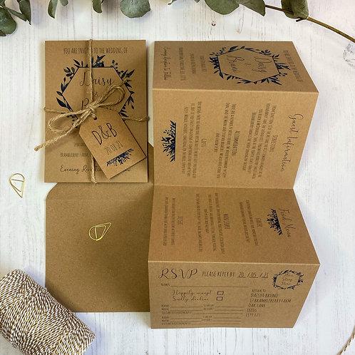 Blue Foliage Folded Wedding Invitations - Kraft