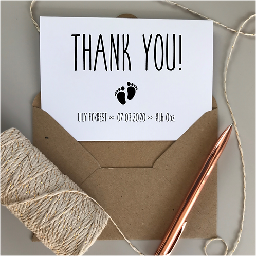 New Baby Thank You Cards - White