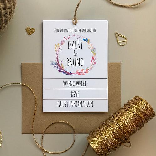 Boho Flower Tiered Wedding Invites - White