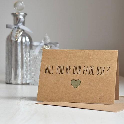 Rustic Heart Page Boy Proposal - Kraft