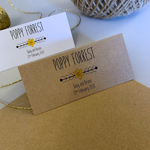 Daffodil Place Name Cards - Kraft