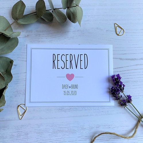 Pink and Grey Reserved Sign