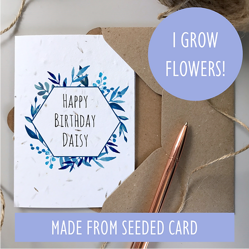 Personalised Blue Foliage Happy Birthday Card - Seeded Card