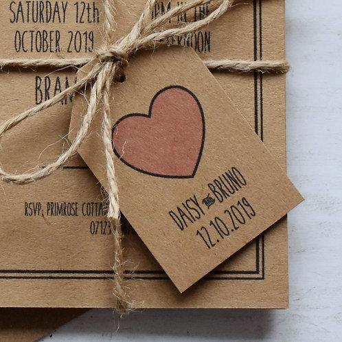 Rustic Heart Wedding Favour Tags - Kraft