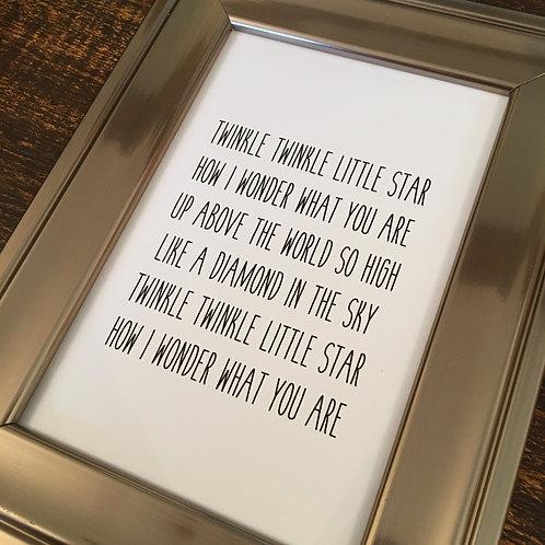 Twinkle Twinkle, Nursery Rhyme Card