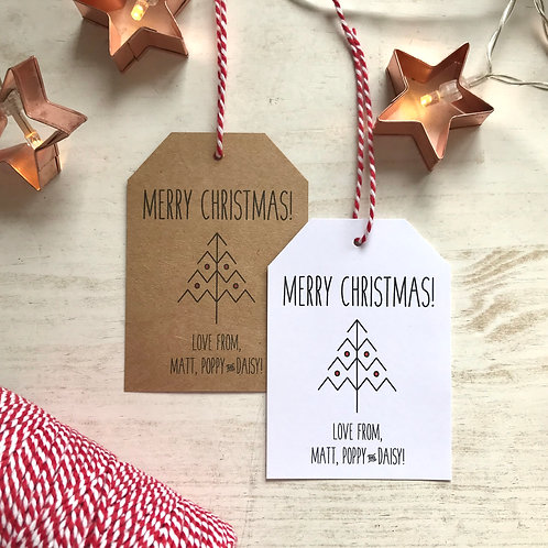 Personalised Christmas Tree Gift Tags (x10)