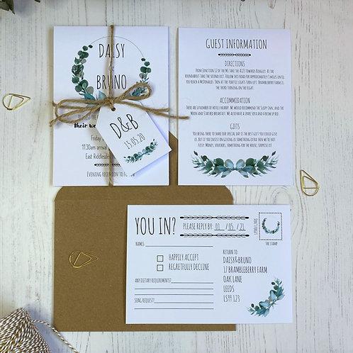 Eucalyptus Wedding Invitations - White