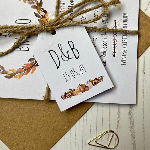 Pumpkin Wedding Favour Tags - White