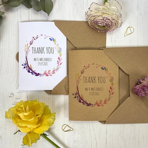 Boho Personalised Wedding Thank you Cards (x10)