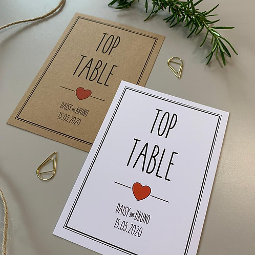 Rustic Heart Table Number Sign