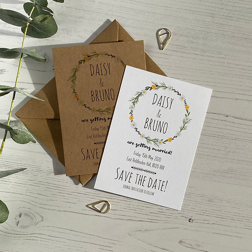 Daisy Wildflower Save The Date Cards
