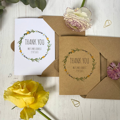 Daisy Wildflower Personalised Wedding Thank you Cards (x10)